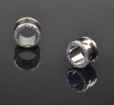 0G Stainless Steel Glitter Screw-On Plug